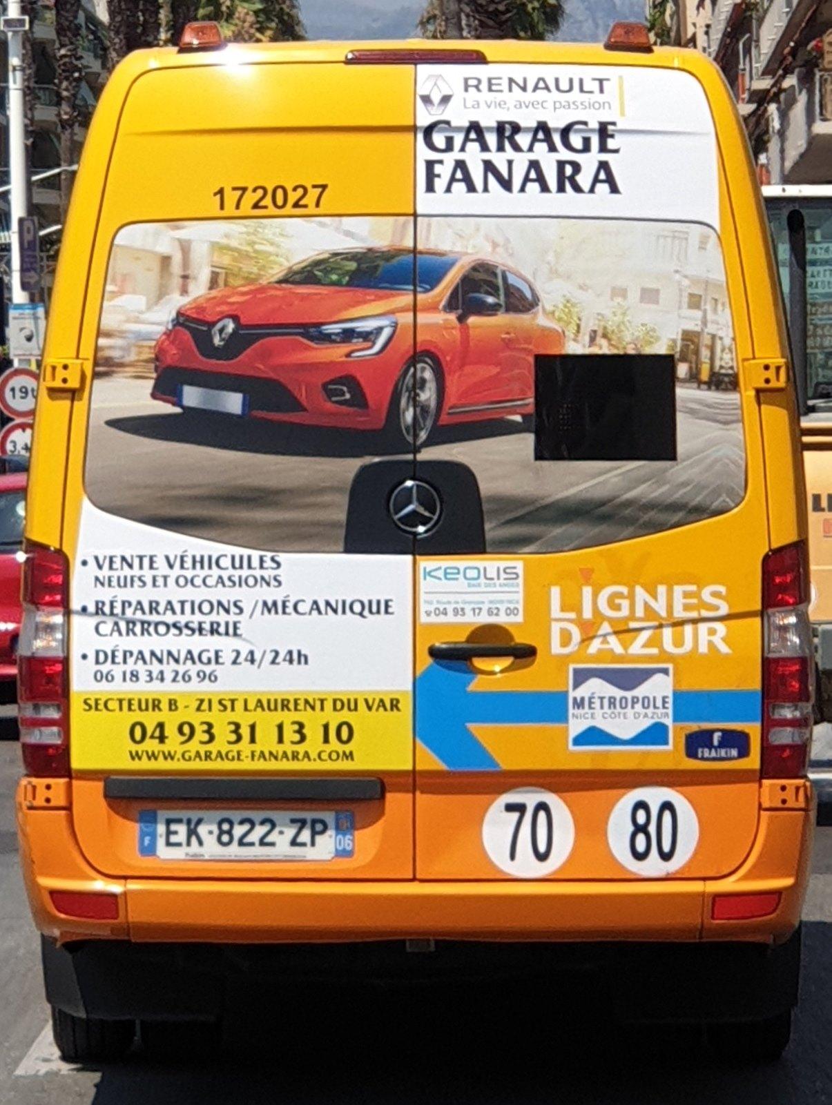Publicité Bus Urbains Nice