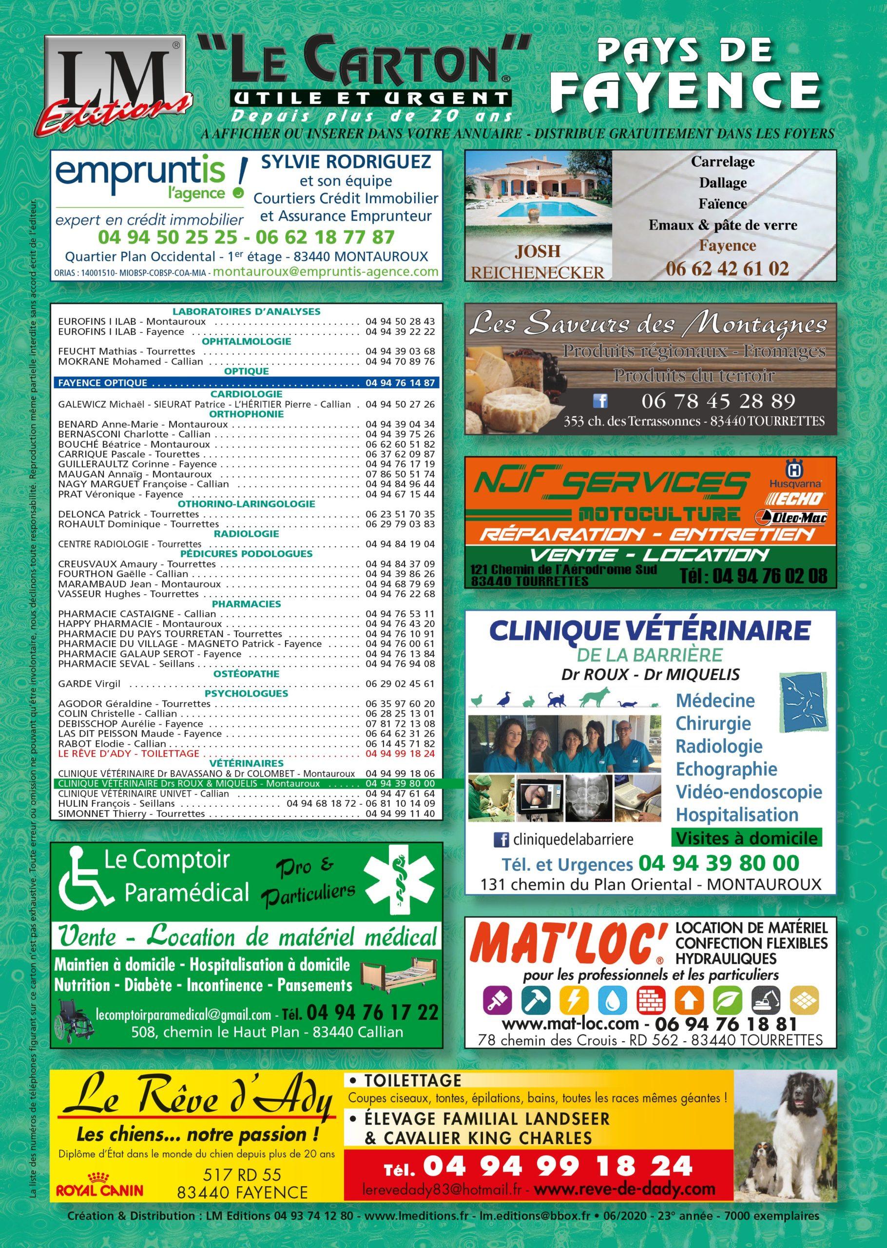 Publicité Carton Fayence
